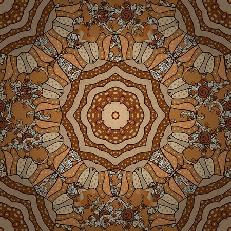 motley: Vintage vector floral seamless pattern in orange, brown and beige colors. Illustration