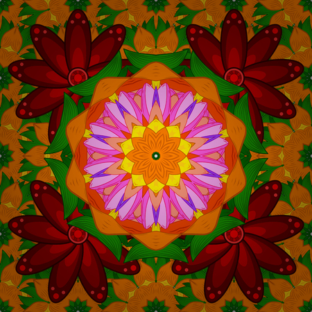 Trendy seamless floral pattern. Vector illustration with many orange, red and green flowers.