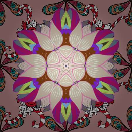 Seamless floral pattern flowers on neutral, black, and magenta colors.