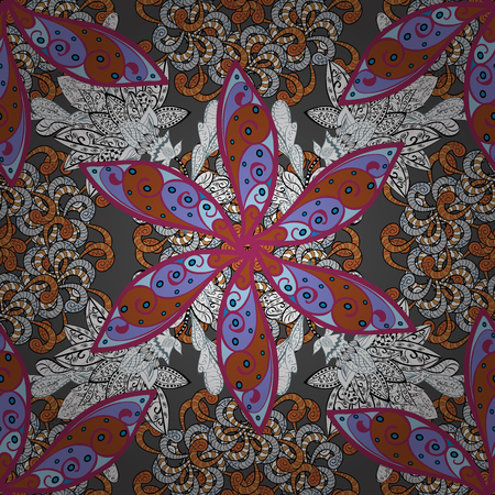 Illustration of floral seamless pattern. Flowers of the valley on gray, white and purple colors.