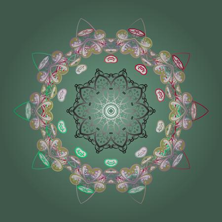 Vector illustration. crystal snowflake in green, neutral and white colors on green, neutral and white colors. Illustration