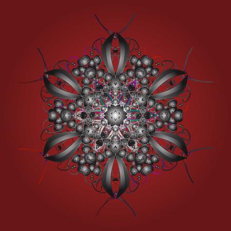 Vector illustration. ?rystal snowflake in red, gray and brown colors on red, gray and brown colors.