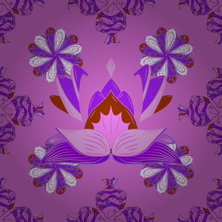 Vector illustration. In nice textile style on violet, neutral and brown colors. Floral seamless pattern with watercolor flowers.