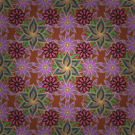In asian textile style on neutral, brown and green colors. Seamless flowers pattern. Vector illustration.