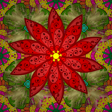 red rug: Indian floral paisley medallion pattern. Ethnic Mandala ornament. Vector Henna tattoo style. Can be used for textile, greeting card, coloring book, phone case print. Illustration