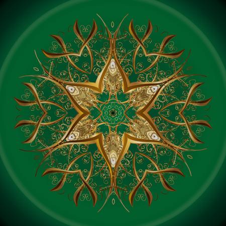 繰り返しパターン。ベクトルデザイン。カラーフィルの背景にクリスマス様式化された黄金の雪の結晶。