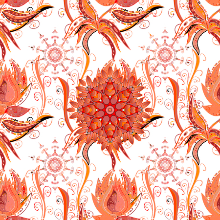 Cute floral pattern in the small flower. Abstract seamless pattern on white, orange and pink colors with bright flowers. Elegant vector texture with floral elements.