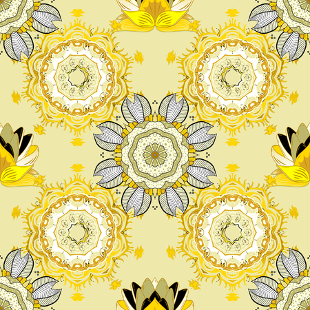 Beautiful fabric pattern. Vector watercolour floral pattern, delicate flowers, beige, yellow and neutral flowers, greeting card template. Illustration