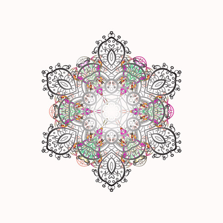 Winter coloring pages for adult art therapy. Hand drawn antistress snowflake. Template for cover, poster, t-shirt or tattoo. Vector illustration.