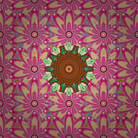 patten: Can be used for greeting business card background, coloring book, backdrop, textile. Seamless ornament print. Ethnic Mandala towel. Border Indian floral Paisley patten. Vector Henna style.
