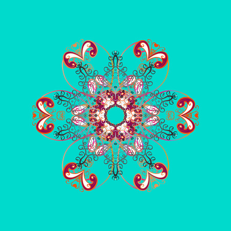 Ñrystal snowflake in colors on colorful background. Vector illustration.