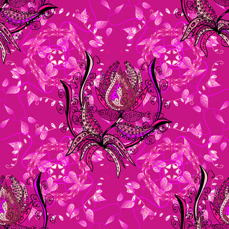springtime background: Cute floral elements. Flowers on magenta, pink and black colors. Vector illustration. Seamless.