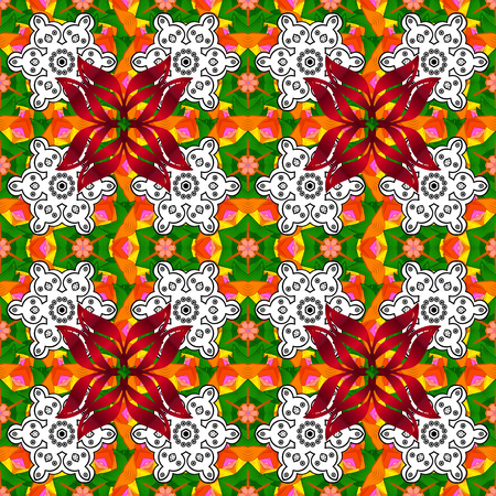 Repeating floral backdrop, Elegant white, orange and green flowers wallpaper. Flower pattern seamless on white, orange and green colors, hand-drawn chamomiles, daisies. Illustration