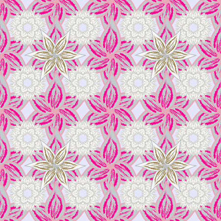 Cute Floral pattern in the small flower. Flowers on gray, magenta and pink colors. Illustration