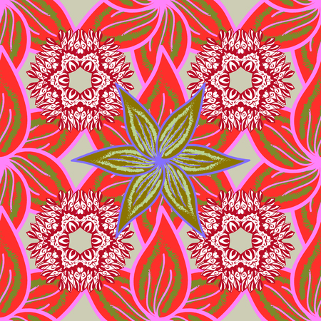 Flowers on red, pink and white colors. Seamless Floral Pattern in Vector illustration. Flat Flower Elements Design. Colour Summer Theme seamless pattern Background.