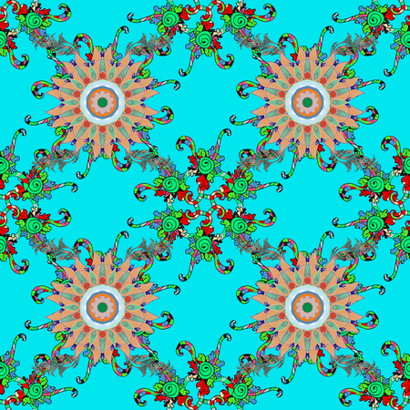 Illustration of floral seamless pattern. Flowers of the valley on blue, green and black colors. Illustration