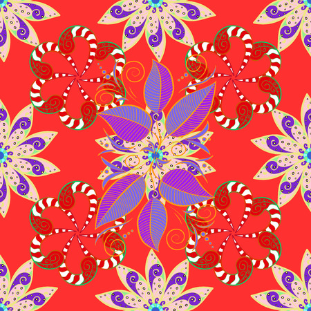Fancy fabric pattern. Seamless floral pattern with flowers, watercolor. Vector pattern.