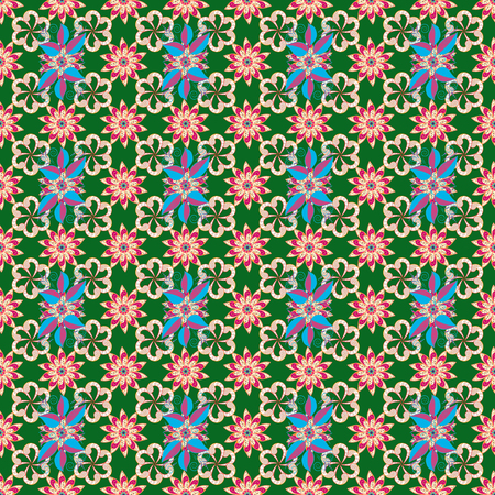 Seamless Floral Pattern in Vector illustration. Flowers on green, orange and neutral colors.