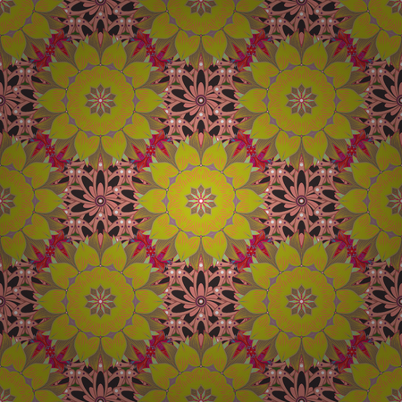 Vector stock. Flowers on yellow, neutral and beige. Watercolor, hand drawn. Seamless background pattern.