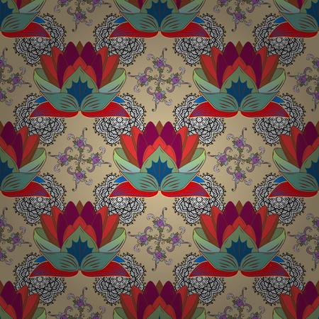 Flat Flower Elements Design. Vector illustration. Colour Spring Theme seamless pattern Background. Seamless Chichi fabric pattern. Flowers pattern. Illustration