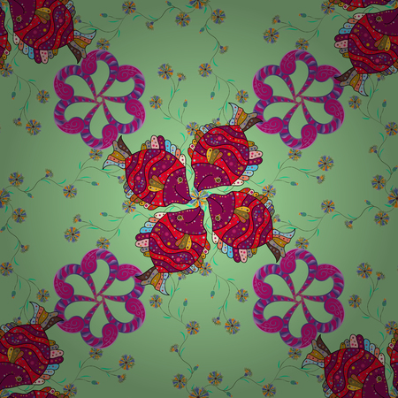 The elegant the template for fashion prints. Modern floral background. Amazing seamless floral pattern with bright colorful flowers and leaves on a green, purple and magenta colors. Folk style.