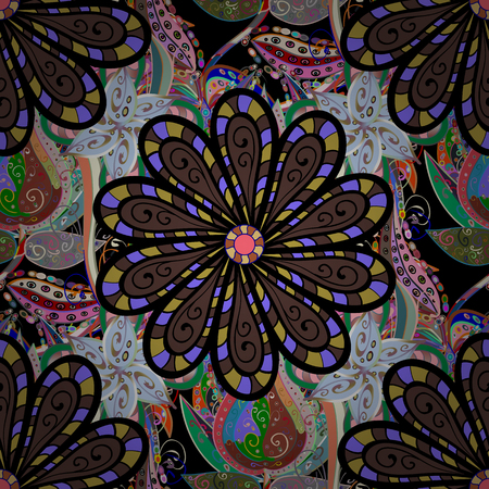 Flowers on black, brown and neutral colors. Seamless Floral Pattern in Vector illustration.