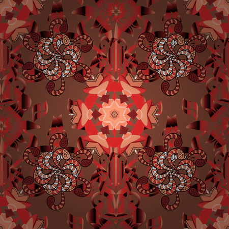 Vintage retro style. Seamless background. Seamless pattern with colorful paisley, brown, orange and red flowers and decorative elements. For print on fabric, textiles, sketch. Vector illustration.