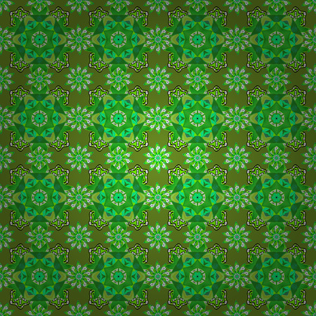 On green, white and black colors. Vector illustration. Colorful ornamental border. Floral sketch. Indian ornament. Seamless pattern.