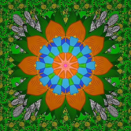 Vector illustration. Gentle, spring floral on green, orange and blue colors. Vector pattern. Exploding flowers abstractly placed.