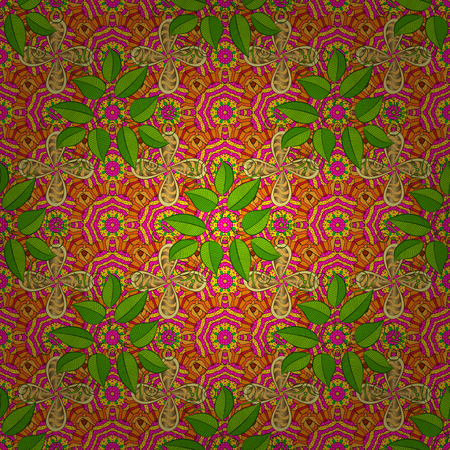 Floral sweet seamless background for textile, fabric, covers, wallpapers, print, wrap, scrapbooking, quilting, decoupage. Pretty vintage feedsack pattern in small yellow, green and magenta flowers.