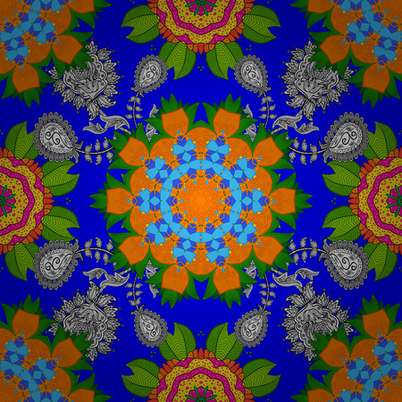 Silk scarf with blooming flowers. 1950s-1960s motifs. Blue, green and orange on blue, green, orange. Retro textile design collection. Abstract seamless vector pattern with hand drawn floral elements.