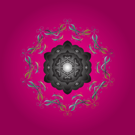 Contour magenta, gray and neutral mandala shaped snowflakes for art therapy style zen drawing. Hand-drawn, stylish doodle in tatto style, fabric design and cards in Vector illustration.