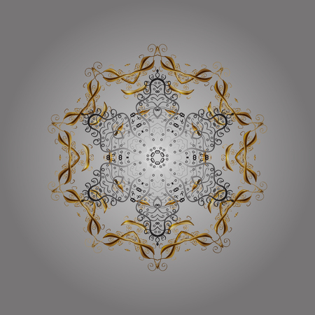 Symbol of winter, Merry Christmas holiday, Happy New Year celebration Vector. Gray, brown and beige snow on gray, brown and beige colors. Snowflake simple. Abstract wallpaper, wrapping decoration.