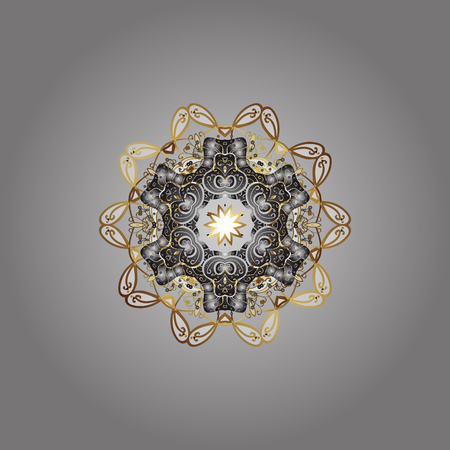 Beautiful decoration. Isolated watercolor snowflakes on gray, white and brown colors. Symbol of winter. Vector illustration with gray, white and brown isolated snowflakes.