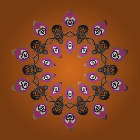 Hand-drawn, stylish doodle in tatto style, fabric design and cards in Vector illustration. Contour orange, gray and pink mandala shaped snowflakes for art therapy style zen drawing.