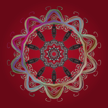 Crystal snowflake in red, gray and beige colors on red, gray and beige colors. Vector illustration.