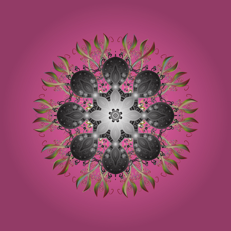 Stylized Flowers. Decorative Texture Background of Mandalas. Design for Fabric or Wallpaper. Ethnic of Lace Snowflakes. Lacy Fashion Print for Textile. Folk Style. Vector illustration. Illustration