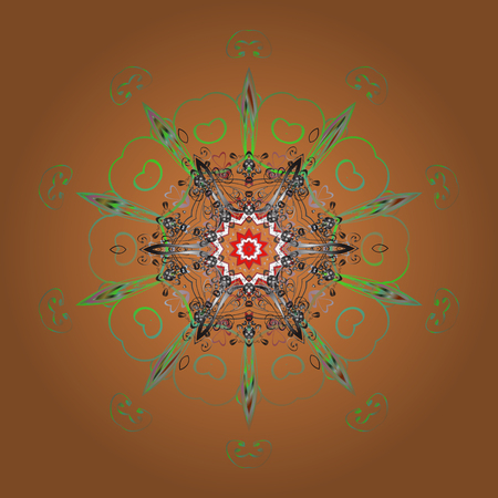 contoured: Hand-drawn, stylish doodle in tatto style, fabric design and cards in Vector illustration. Contour orange, gray and green mandala shaped snowflakes for art therapy style zen drawing.