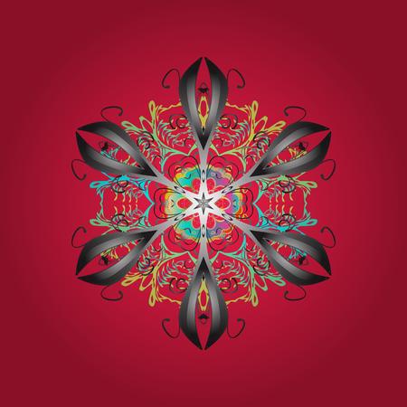 Vector illustration. Ñrystal snowflake in red, gray and blue colors on red, gray and blue colors.