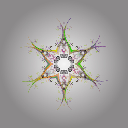 contoured: Snowflakes radial neutral, beige and gray colors. Isolated nice snowflakes on colorful background.Vector illustration.