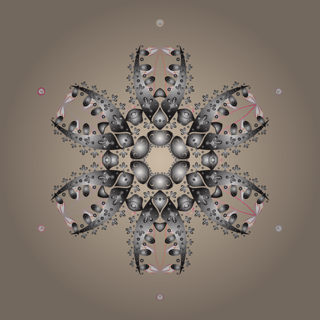 Contour beige, gray and neutral mandala shaped snowflakes for art therapy style zen drawing. Hand-drawn, stylish doodle in tatto style, fabric design and cards in Vector illustration.