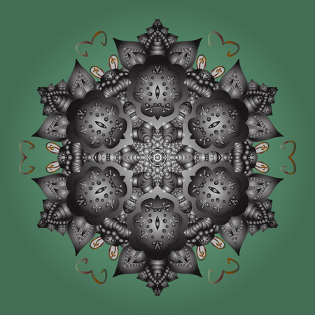 Contour green, gray and brown mandala shaped snowflakes for art therapy style zen drawing. Hand-drawn, stylish doodle in tatto style, fabric design and cards in Vector illustration.