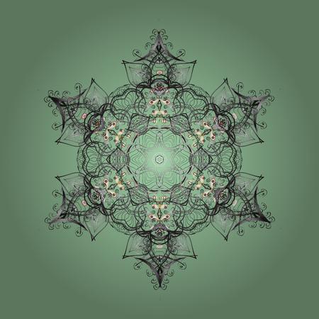 ベクトルの図。中立的な灰色と緑の色をデザインします。ベクター冬パターン。抽象的な背景花の要素。