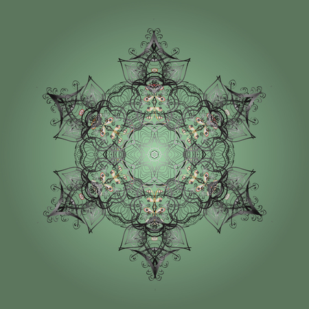 Vector illustration. Design on neutral, gray and green colors. Vector winter pattern. Abstract background with Floral Elements.