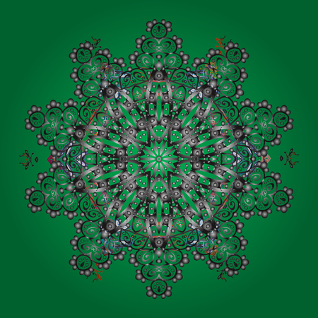 contoured: Hand-drawn, stylish doodle in tatto style, fabric design and cards in Vector illustration. Contour green, gray and neutral mandala shaped snowflakes for art therapy style zen drawing. Illustration