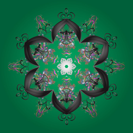 neutral: Christmas Stylized green, gray and neutral Snowflakes on a green, gray and neutral colors.