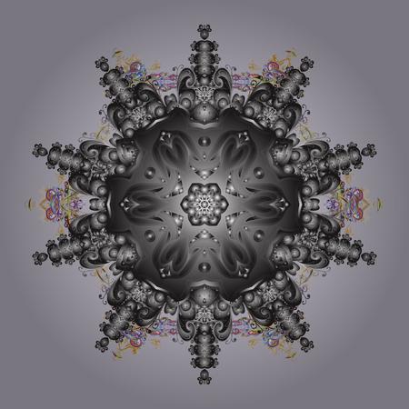 tejido de lana: Endecha plana. Concepto de invierno. Ilustración vectorial Patrón de invierno hecho de copo de nieve en colores neutros, grises y marrones.