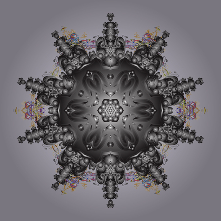 Flat lay. Winter concept. Vector illustration. Winter pattern made of snowflake on neutral, gray and brown colors. Illustration