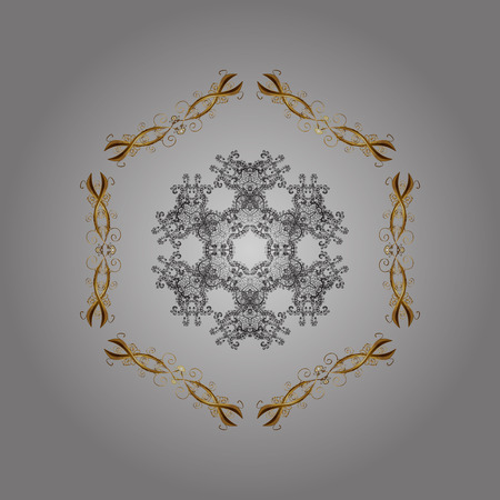 Fine snowflake. Round vector snowflake. Abstract winter gray, brown and beige ornament isolated on colorful background. Illustration