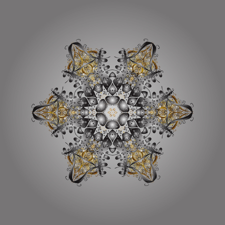 Snowflake Icon. Snowflake Vector illustration. Isolated on gray, brown and beige colors. Winter snowflake.